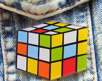 Rubik Cube Retro Pin Colourful Vintage 80's Toy Image Acrylic Brooch for Bags Jackets Clothing UK Trend 3D Square Design with Gift Pouch