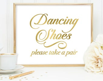 Dancing Shoes Sign DIY, Wedding Flip Flops Sign / Gold Wedding Sign / White Gold Calligraphy, Faux Metallic Gold ▷Instant Download JPEG
