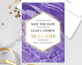 Ultraviolet Save The Date Card / Purple Gemstone, Violet Marble, Agate, Purple & Gold Geometric ▷ Printed Heavy Paper {or} Printable
