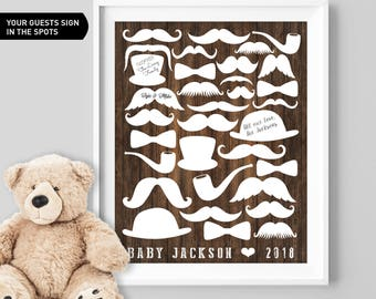 Mustache Baby Shower Guest Book Alternative / Faux Wood Hipster Guest Book, Bow Tie Baby Shower ▷Canvas, Board, Paper {or} Printable
