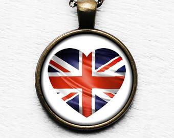 UK United Kingdom Flag Heart Pendant & Necklace