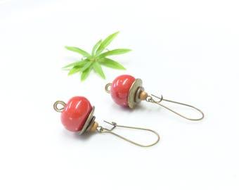 Retro earrings ~ Strawberry wood ~