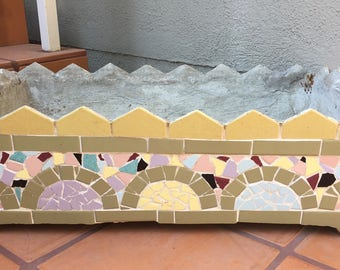 Vintage 1930-40's Hand Crafted Mosaic California Tile Shard Planter One of a Kind