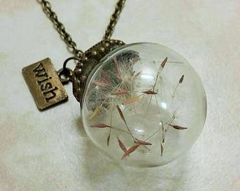 Make A Wish Dandelion Glass Orb Antique Bronze Necklace 20 Inches