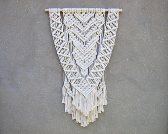 Modern macrame wall hanging large Boho decor Woven tapestry Bohemian wall decor Home accents Hippie living room Off-white home decor