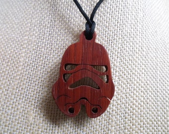Star Wars Jewelery, Storm Trooper Pendant, Handmade two toned Wood Necklace, Cosplay Pendant