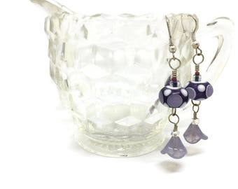 Purple, White and Lavender - Lampwork Glass Earrings