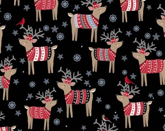 Snow Delightful by Studio E - Reindeer In Sweaters Black - Cotton Woven Fabric