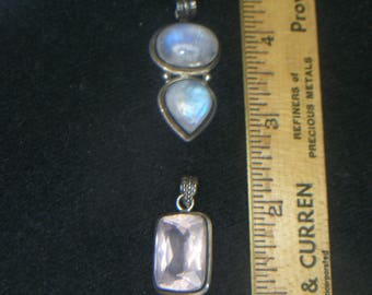 """2 Sterling Pendants with 22"""" Sterling Chain(740)"""