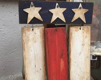 Rustic American flag, wooden American flag, wood flag, 4th of july decor, front door sign, patriotic decor, primitive, front porch flag, USA