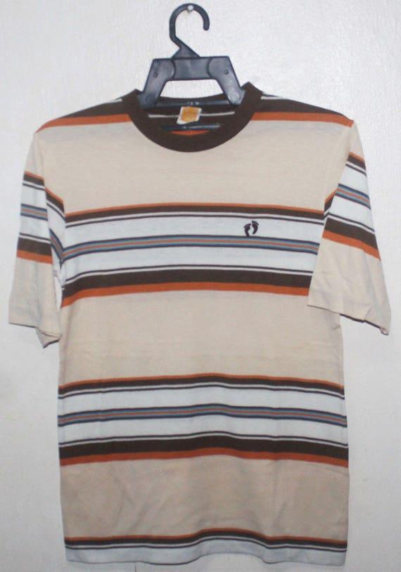VINTAGE 70/80s HANG TEN 50/50 striped hawaii surfer surf t shirt retro skate v4OASm