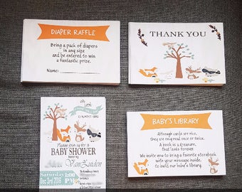 woodland baby shower invitation set (Invite+Diaper Raffle+Book Request+Thank You Insert)