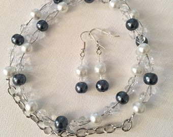 Blue pearl necklace and earring set