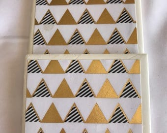 4x4 Gold, white, and Black Triangle  Item# C007