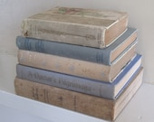 Blue and Beige Decorative Books, Shabby Book Bundle, Farmhouse Books, Wedding Centerpiece, Stack of Books, Distressed Books, Shelf Decor
