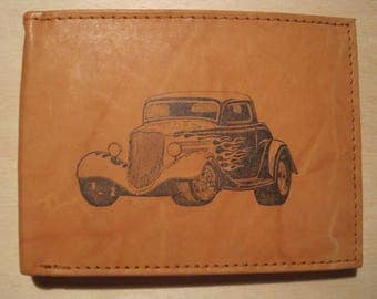 "Mankind Wallets Men's Leather RFID Blocking Billfold w/ ""1933 Ford Coupe"" Image~Makes a Great Gift!"