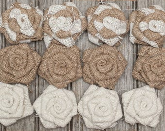 Handmade Burlap Flowers Roses | Set of 12 | Great Rustic Home Decoration or Wedding Decoration