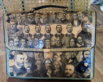 Man bag with collage of famous leather Briefcase