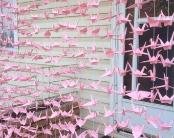 500 Bright Pink Origami Cranes On String- Wedding Backdrop- Party Decoration