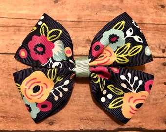 navy floral bow, hair bows, hair clips, girls hair bows, hair bows for girls, boutique bows, kids bows