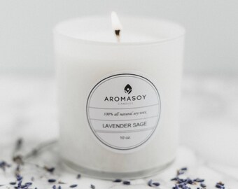 LAVENDER SAGE Soy Candle / White Candle  Aromatherapy Candle / Gift Idea / Home Decor / White Decor / Minimalist Decor / Handmade / Natural