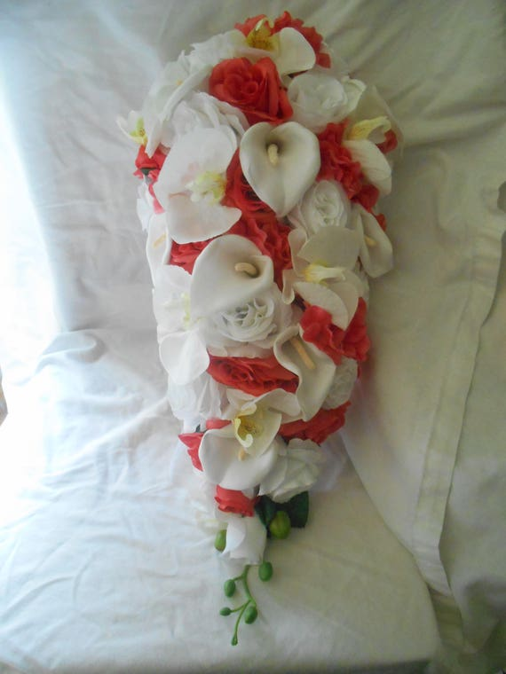 Coral and white   callas lilies , orchids and roses  silk cascade wedding bridal bouquet 15 pieces