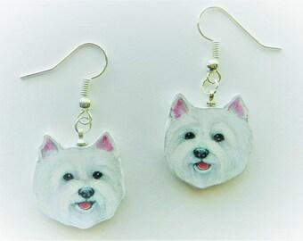 """West Highland """"Westie"""" White Terrier Silver Dangle Earrings"""
