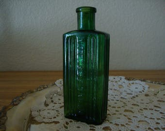 "Antique 1890's English Emerald Green Blue ""Not To Be Taken"" Victorian POISON ribbed glass BOTTLE Wedding Bottle Vase Zen Home"