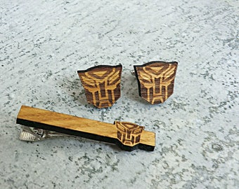 Transformers Tie Clip Wooden Tie Clip Groomsmen gift ideas Transformers gift Gifts for men Valentines gifts Groomsmen Tie Clip