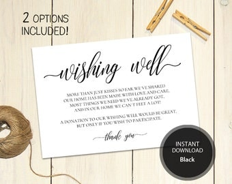 Editable PDF 3,5x5 Wishing Well Card Lieu of gifts Wedding Wishing Well Wedding Insert Calligraphy Cards Printable Digital #DP110_17