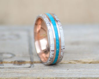 Men's Wedding Band: 10k Rose Gold with Natural Shed Elk Antler and Turquoise Stone Inlay. Outdoor staghead stagound