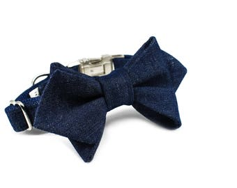 Luxury Dog or Cat Bow Tie - The BILLIE // Femme (blue denim print)