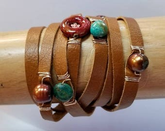 Handmade Leather Wrap beaded bracelet.