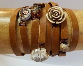 Leather wrap bracelet with bone, shell, glass bracelet