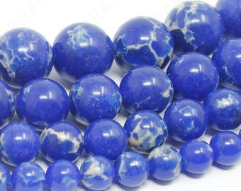 "Blue Imperial Beads Natural Sea Sediment Jasper Gemstone Round - 6mm 8mm 10mm 12mm - 15.5"" Strand"