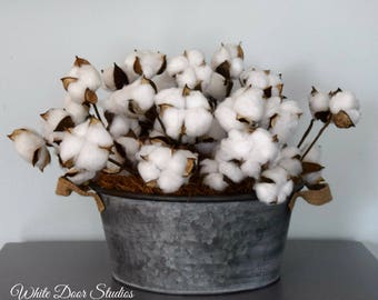 Cotton Boll Centerpiece | Farmhouse Decor | Rustic Decor | Cotton Decor | Cotton Arrangment in Metal Tub | Second Anniversary Gift