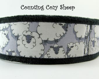 Cute Sheep Martingale Collar, Chenille Lined Dog Collar, Chenille Martingale, Whippet Collar,  Sheep Greyhound Collar, Limited Slip Collar