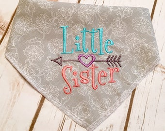 Little Sister Dog Bandana.  Rich pastels, an arrow and heart, on silvery gray for a sweet subtle look  Great Gift for Parents-to-Be. Tie On