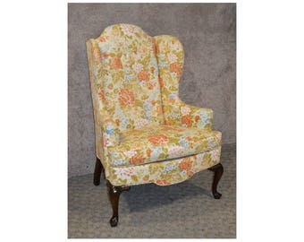 Drexel Queen Anne Style Wing Chair w/Tufted Floral Fabric