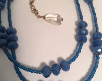 Blue Chalcedony and Sterling Necklace