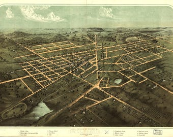 Hillsdale, MI Panoramic Map dated 1866. This print is a wonderful wall decoration for Den, Office, Man Cave or any wall.