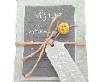 Calligraphy wedding invitation, floral wedding invitation, dried flower wedding invitations, rustic wedding invitation, woodland wedding