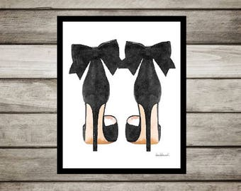 Black fashion watercolor shoes, high heels, fashion illustration, shoe art, shoe art, high heels, fashion print, fashion art, gift, bow, art