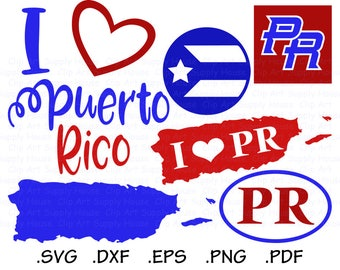 Puerto Rico SVG, Puerto Rico Clipart, Puerto Rico PNG, Silhouette and Cricut Files, Puerto Rico svg bundle, Puerto Rico svg designs - CA449