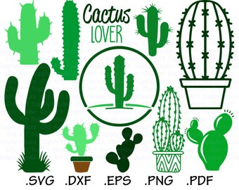 Cactus SVG Clipart, Cricut Design File, Cacti SVG, Silhouette Cameo, Cricut Design, Succulent Plant Wall Art, DXF File Vinyl Cutter - CA458