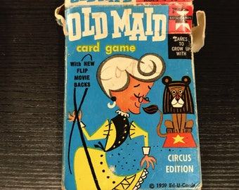 Vintage 1959 Old Maid Card Game Circus Edition