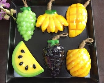 Real Fruit Fragrance Soaps! Real flavour- Grapes, Banana, Mango, Watermelon, Pineapple! Bundle of 6