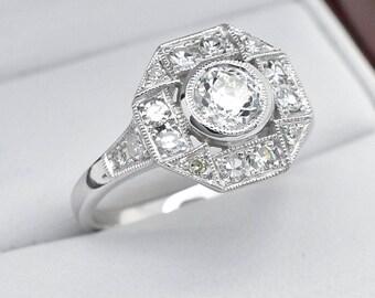 Art Deco Engagement Ring 14k White Gold .95ctw Old European Cut Diamond Antique Statement Engagement Ring 3.9g sz 7