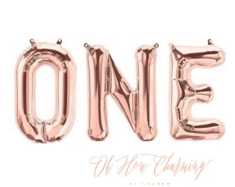 One Balloons Rose Gold Letter Balloons One Rose Gold Balloon First Birthday Cake Smash Pink and Gold First Birthday Rose Gold Balloons One