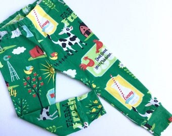 Spoonflower knit Farm scene leggings for girls -cows -goats -roosters -barn -kelly green -barnyard -animals -baby -toddler -child